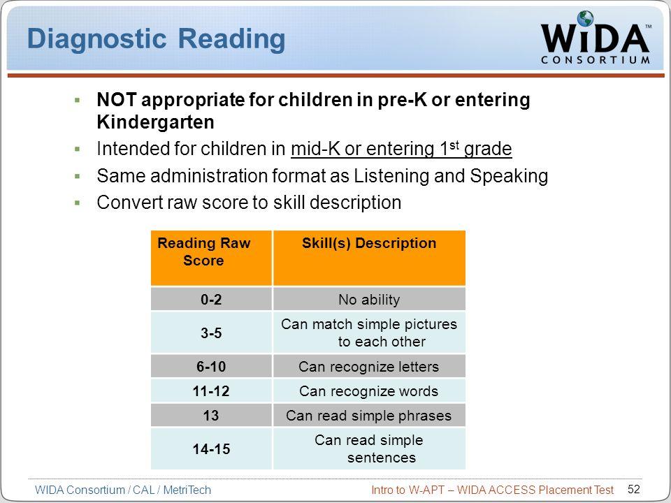 Diagnostic Reading NOT appropriate for children in pre-K or entering Kindergarten. Intended for children in mid-K or entering 1st grade.
