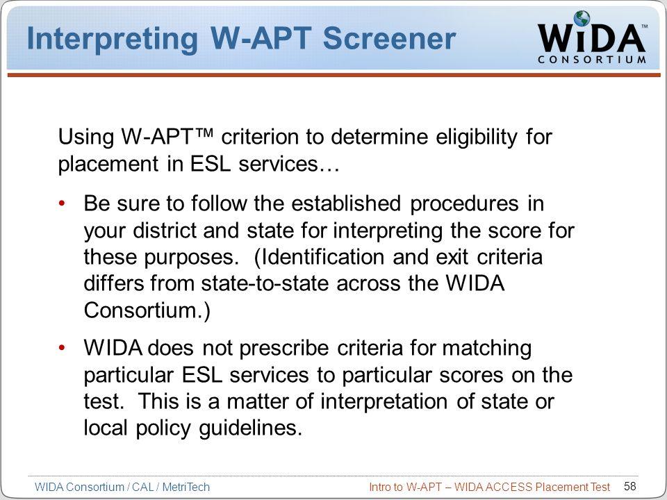 Interpreting W-APT Screener