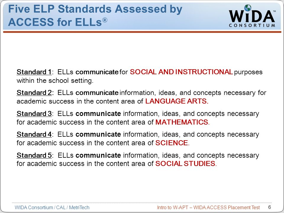 Five ELP Standards Assessed by ACCESS for ELLs®