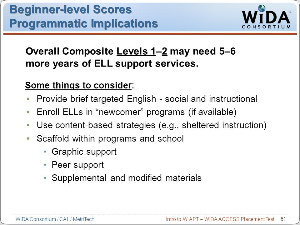 Beginner-level Scores Programmatic Implications