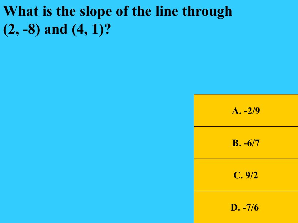 What is the slope of the line through (2, -8) and (4, 1)