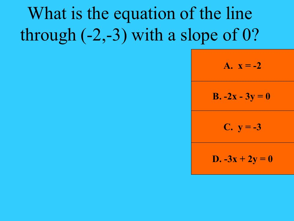 What is the equation of the line through (-2,-3) with a slope of 0