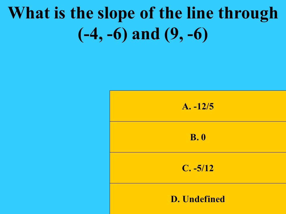 What is the slope of the line through (-4, -6) and (9, -6)