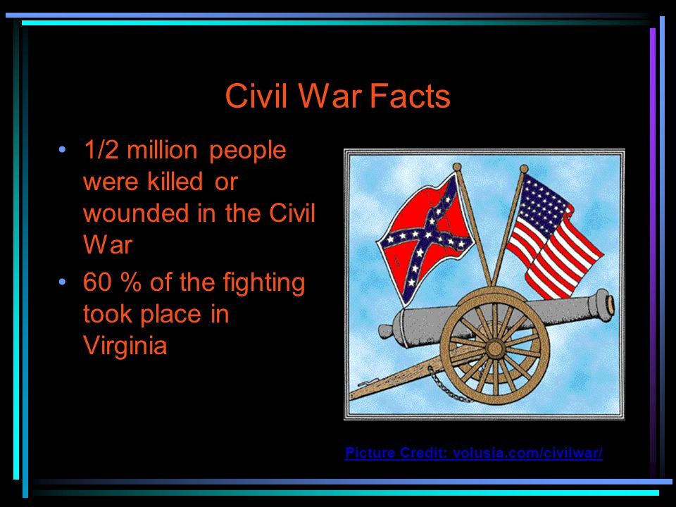 Civil War Facts 1/2 million people were killed or wounded in the Civil War. 60 % of the fighting took place in Virginia.