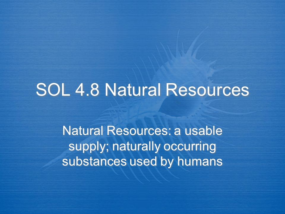 SOL 4.8 Natural Resources Natural Resources: a usable supply; naturally occurring substances used by humans.