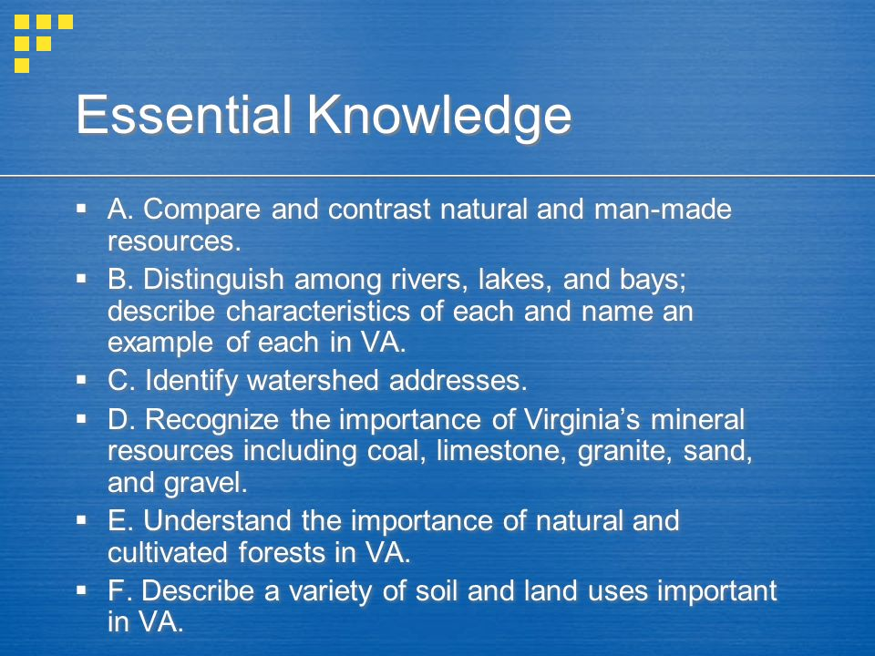 Essential Knowledge A. Compare and contrast natural and man-made resources.