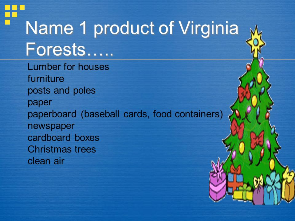 Name 1 product of Virginia Forests…..
