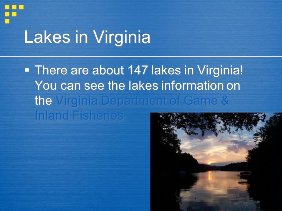 Lakes in Virginia There are about 147 lakes in Virginia.