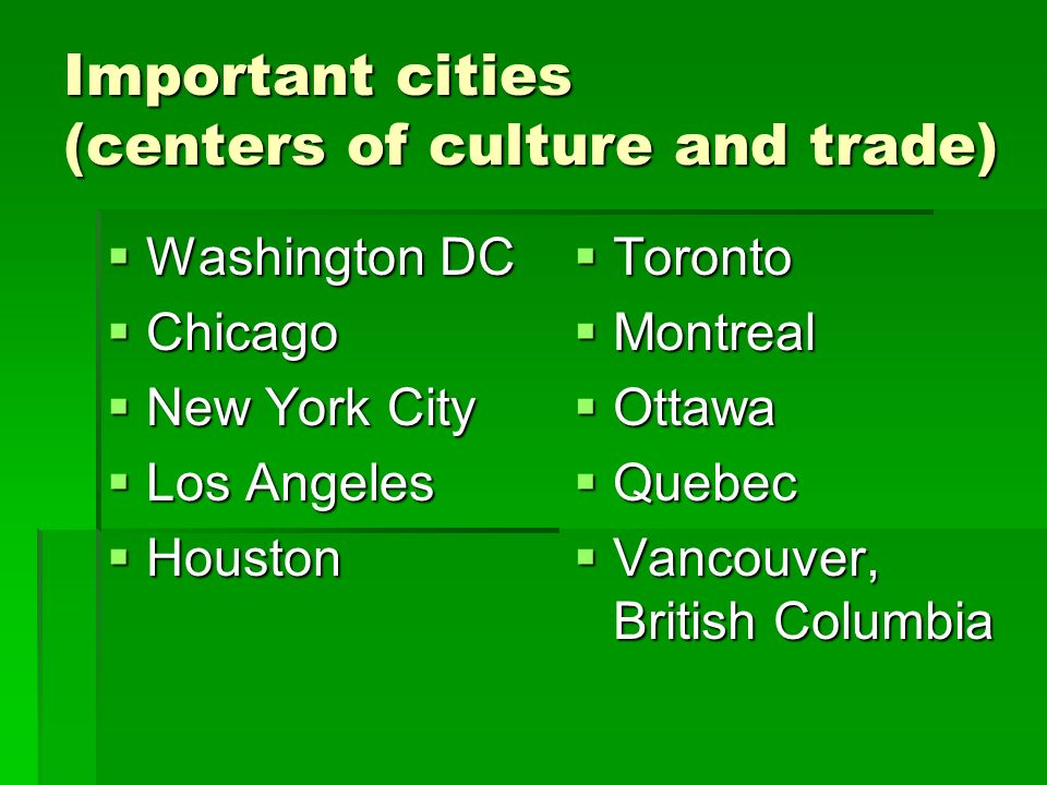 Important cities (centers of culture and trade)