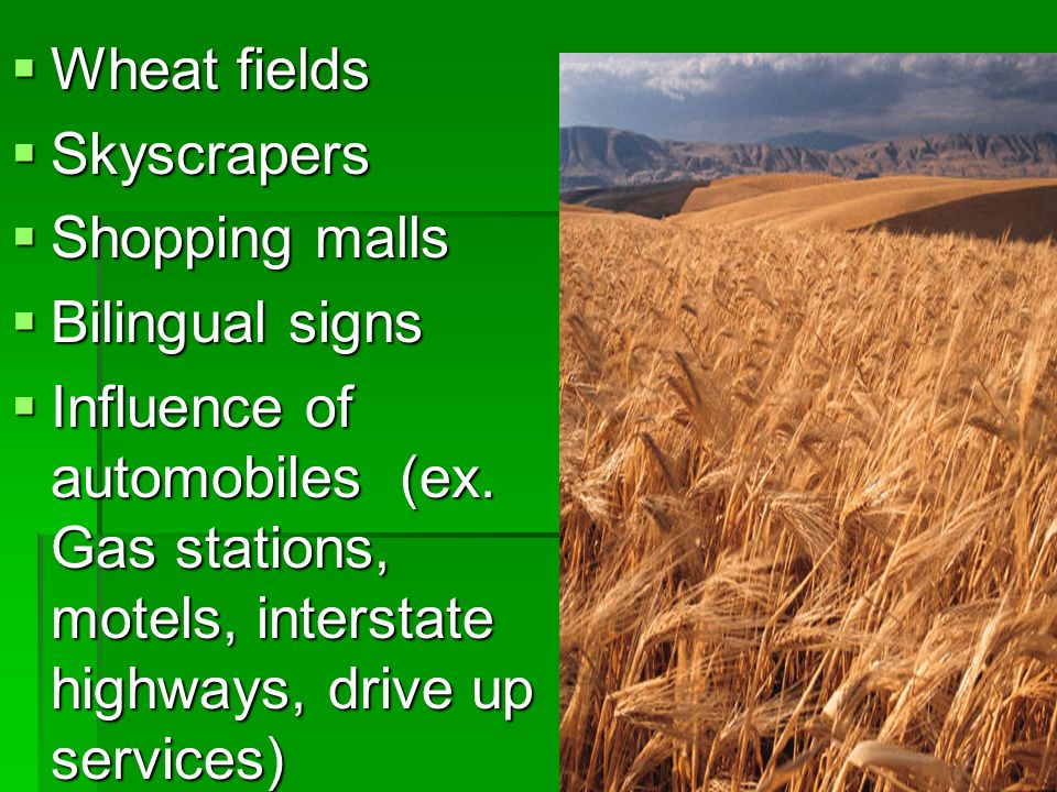 Wheat fields Skyscrapers. Shopping malls. Bilingual signs.