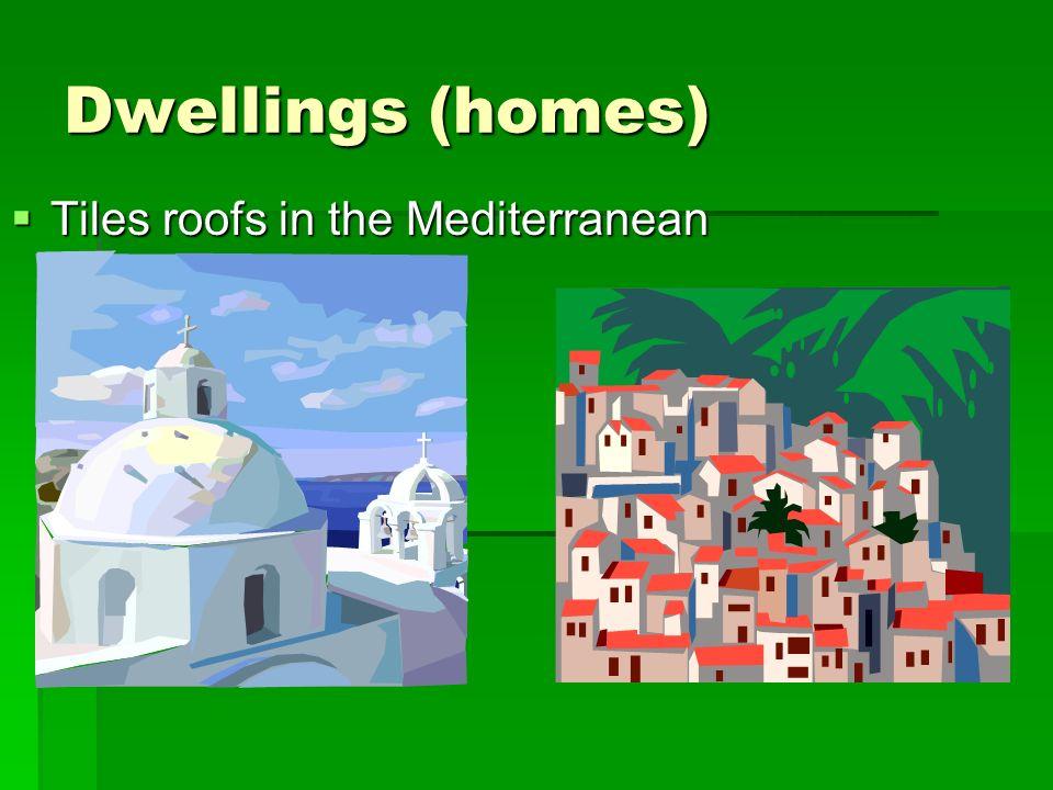 Dwellings (homes) Tiles roofs in the Mediterranean