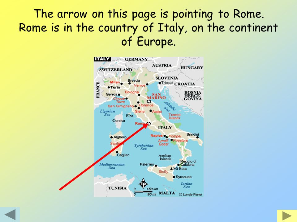 The arrow on this page is pointing to Rome