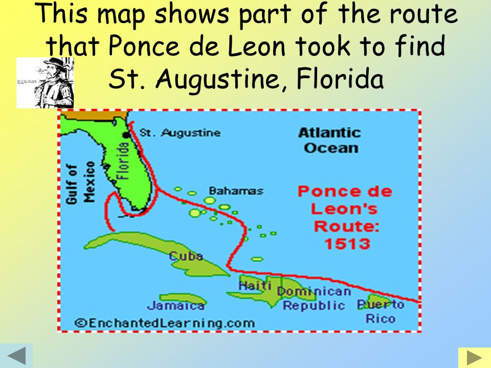 This map shows part of the route that Ponce de Leon took to find St