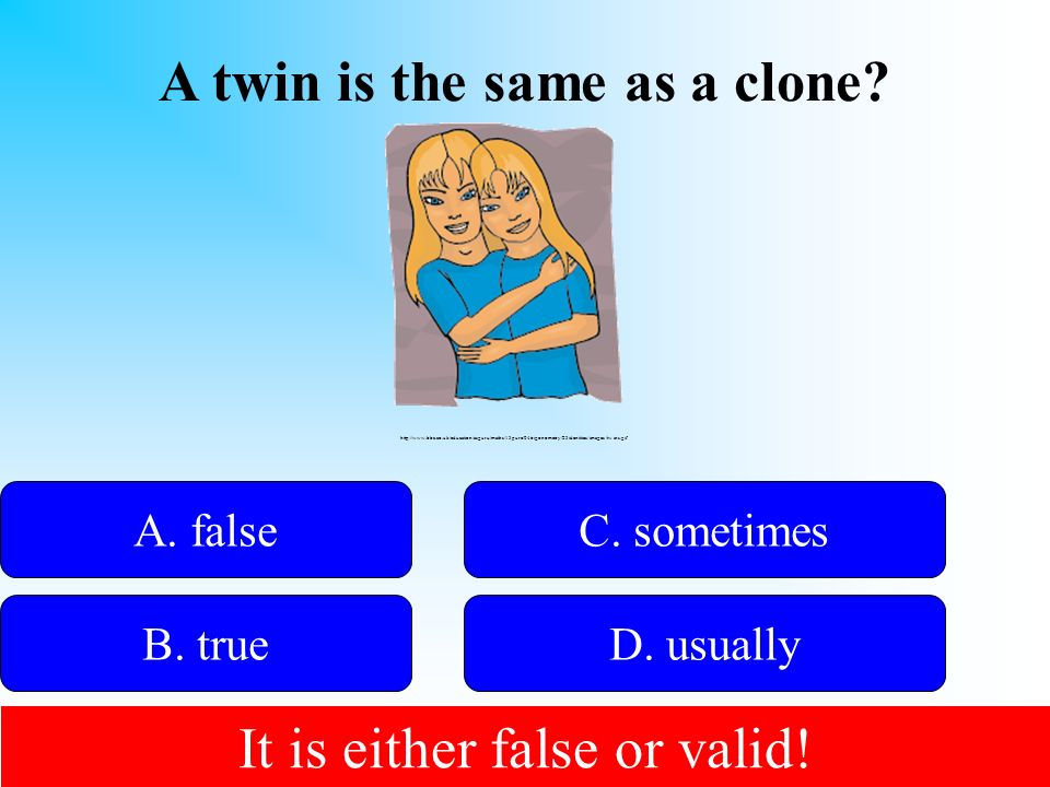 A twin is the same as a clone
