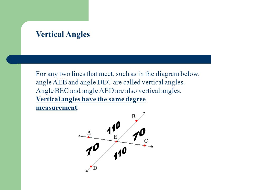 Vertical Angles For any two lines that meet, such as in the diagram below, angle AEB and angle DEC are called vertical angles.