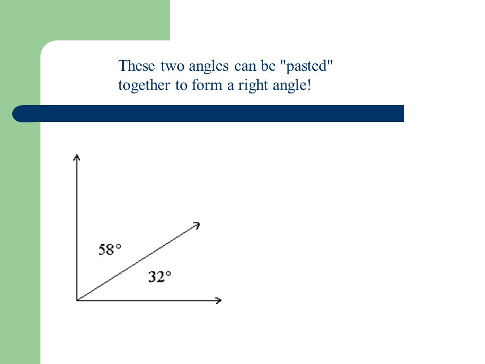 These two angles can be pasted together to form a right angle!