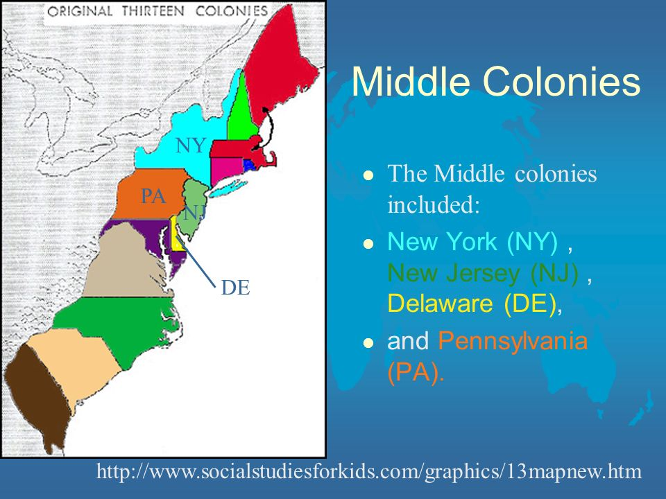 Middle Colonies The Middle colonies included: