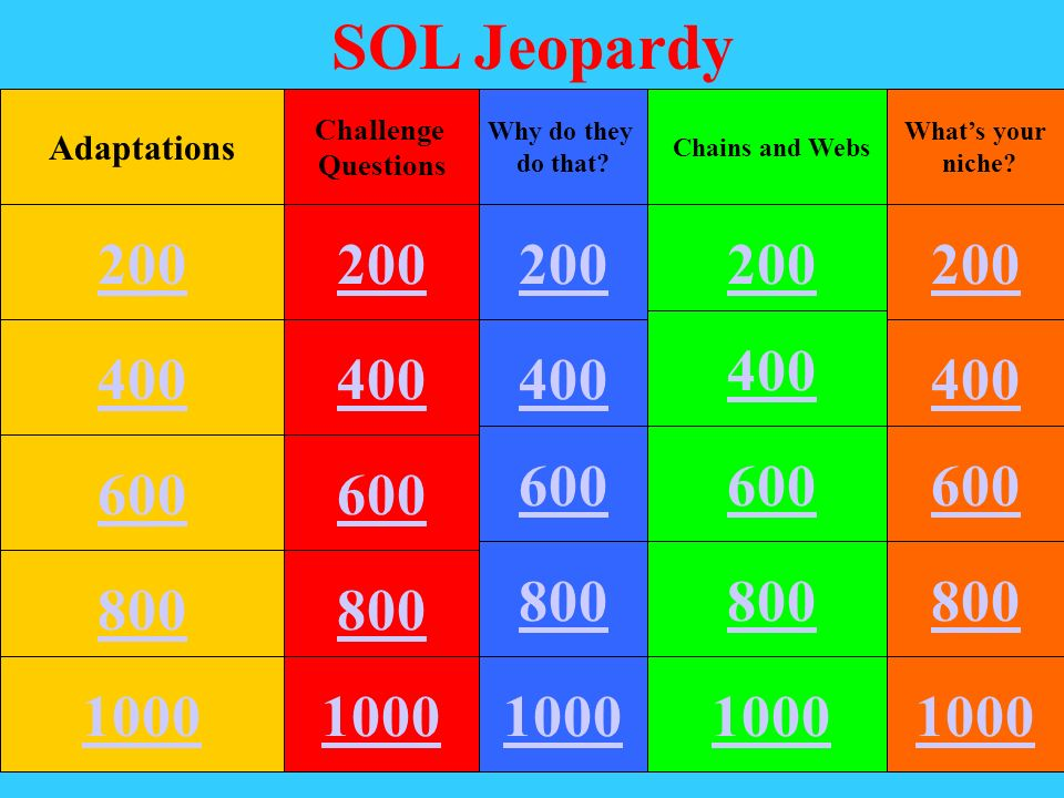 SOL Jeopardy Adaptations. Challenge. Questions. Why do they. do that Chains and Webs. What's your.