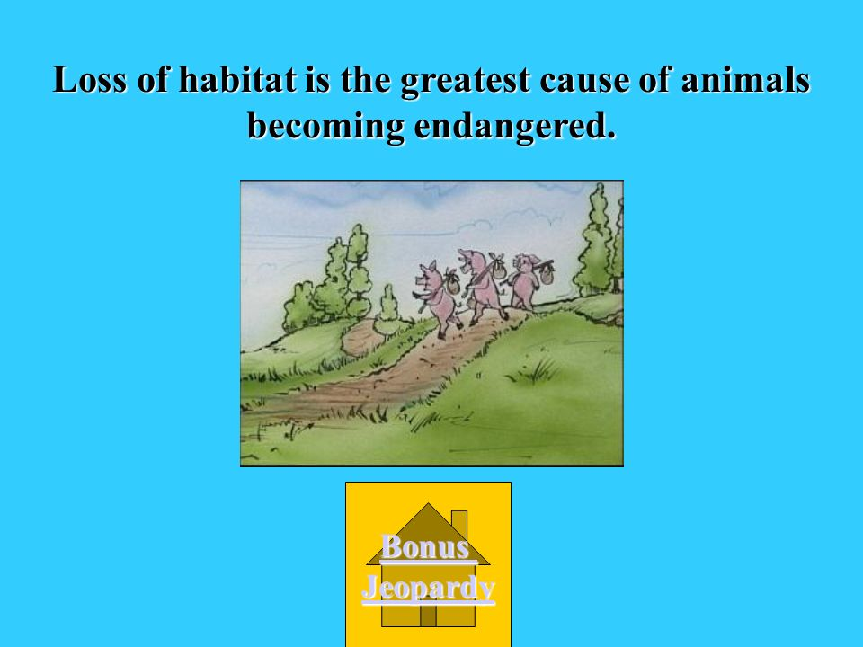Loss of habitat is the greatest cause of animals becoming endangered.