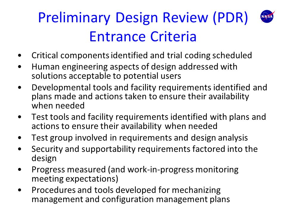 What to Look at in Your Preliminary Design Reviews