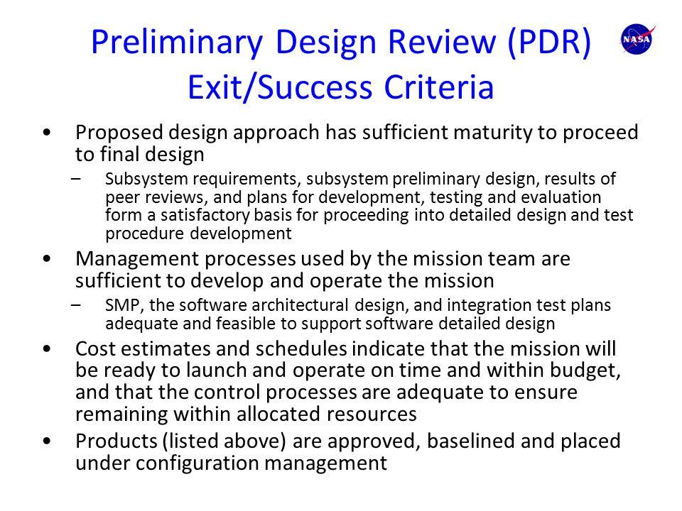 Entrance Criteria Success Criteria 1. System level ...