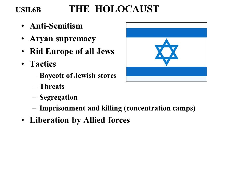 THE HOLOCAUST Anti-Semitism Aryan supremacy Rid Europe of all Jews