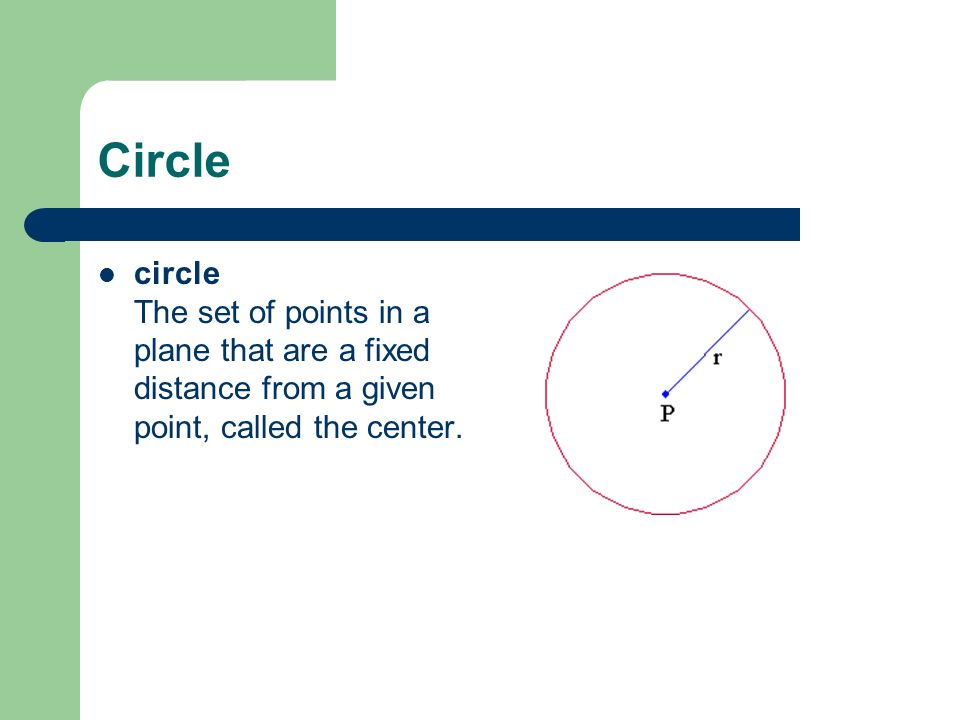 Circle circle The set of points in a plane that are a fixed distance from a given point, called the center.