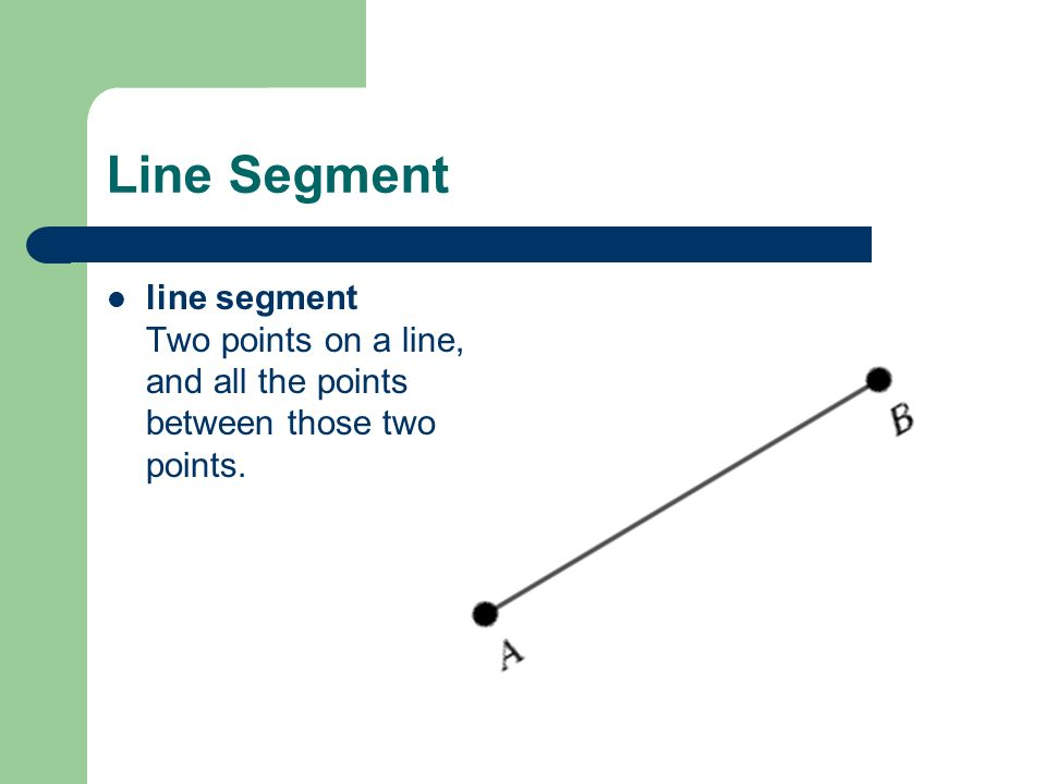 Line Segment line segment Two points on a line, and all the points between those two points.