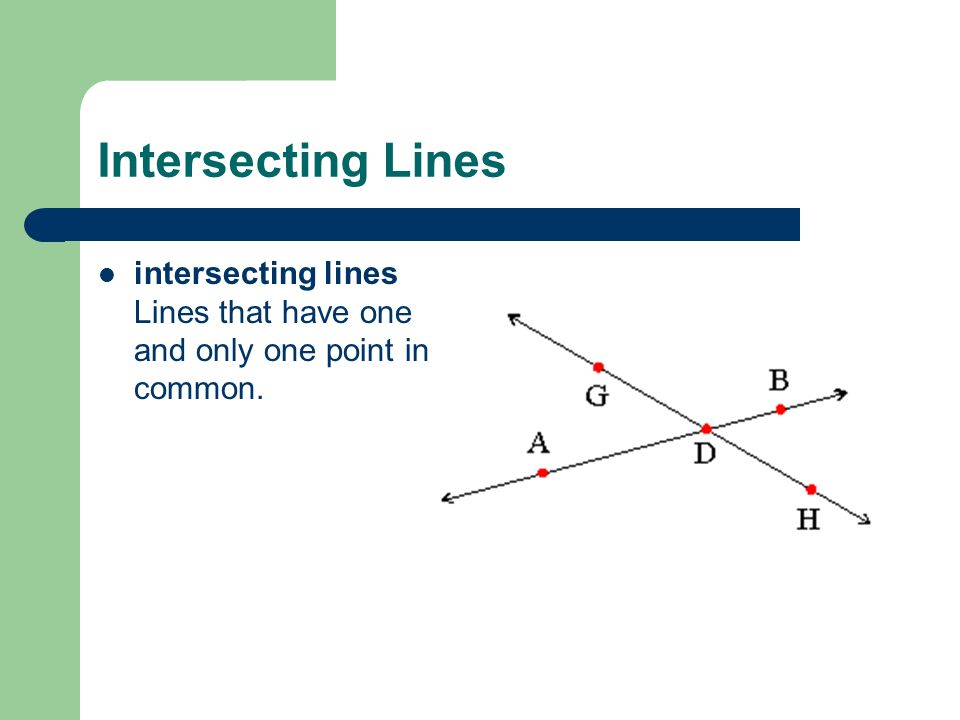 Intersecting Lines intersecting lines Lines that have one and only one point in common.