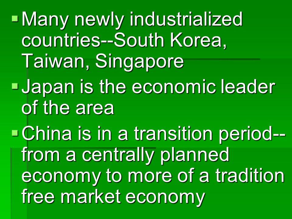 Many newly industrialized countries--South Korea, Taiwan, Singapore