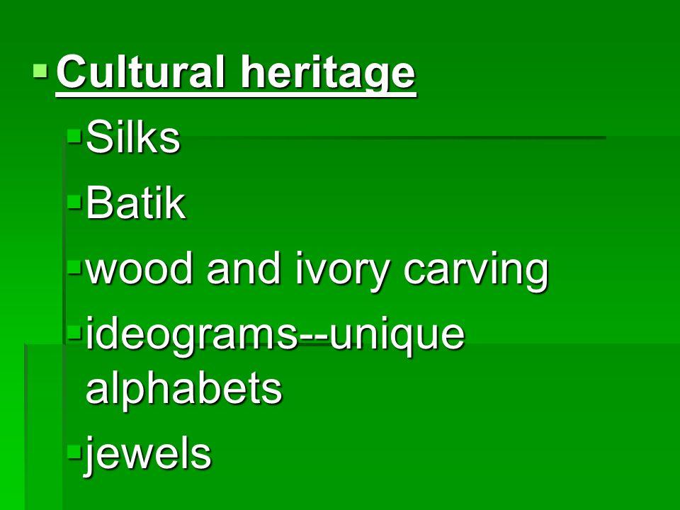 Cultural heritage Silks Batik wood and ivory carving ideograms--unique alphabets jewels