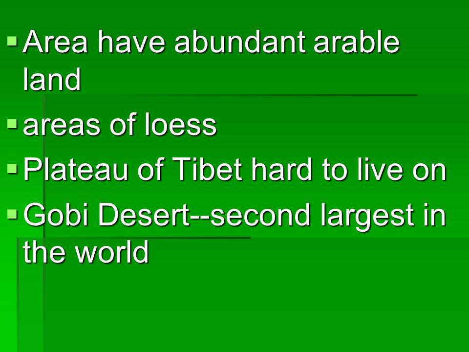 Area have abundant arable land