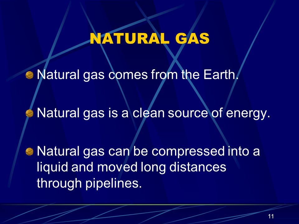 NATURAL GAS Natural gas comes from the Earth.
