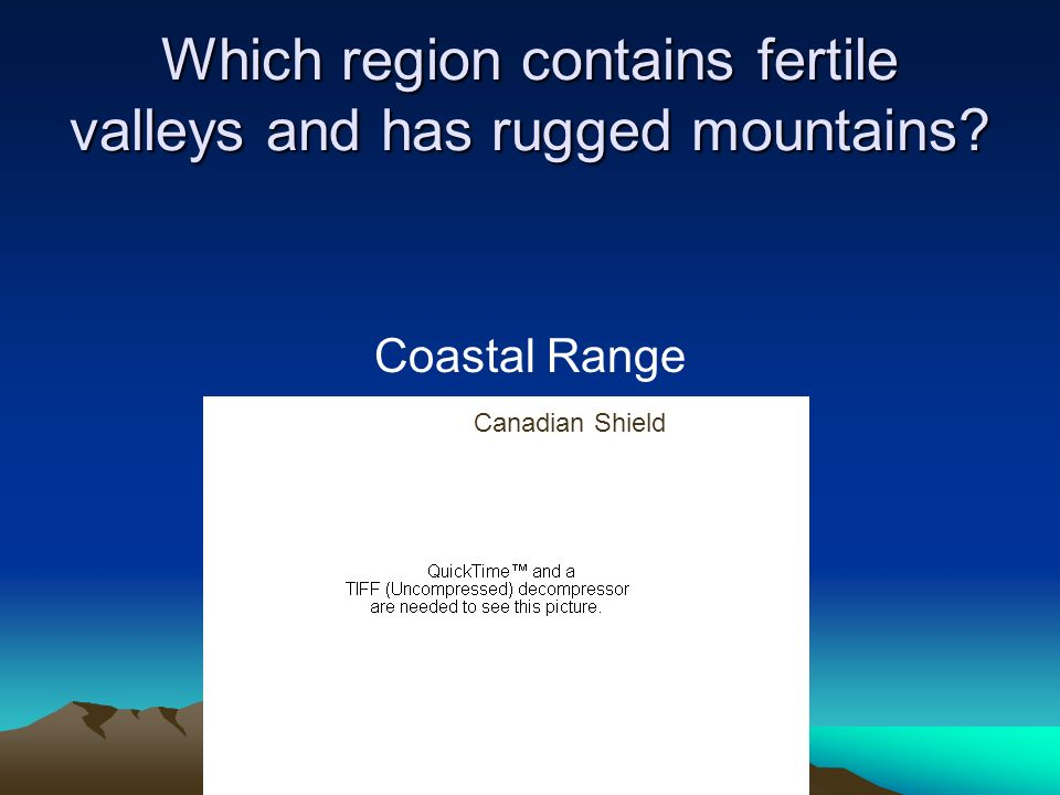Which region contains fertile valleys and has rugged mountains