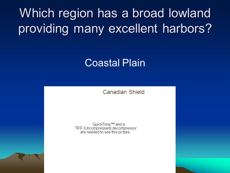 Which region has a broad lowland providing many excellent harbors
