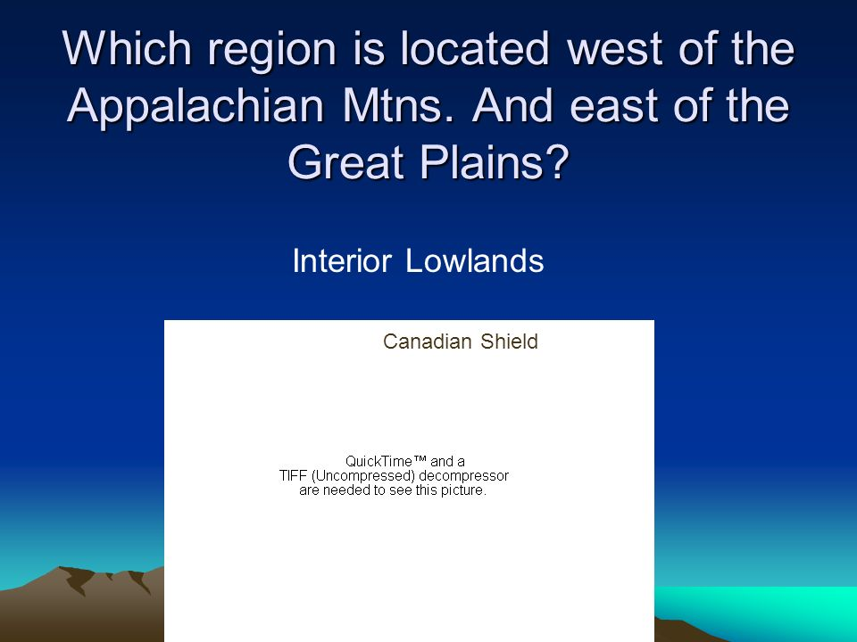 Which region is located west of the Appalachian Mtns