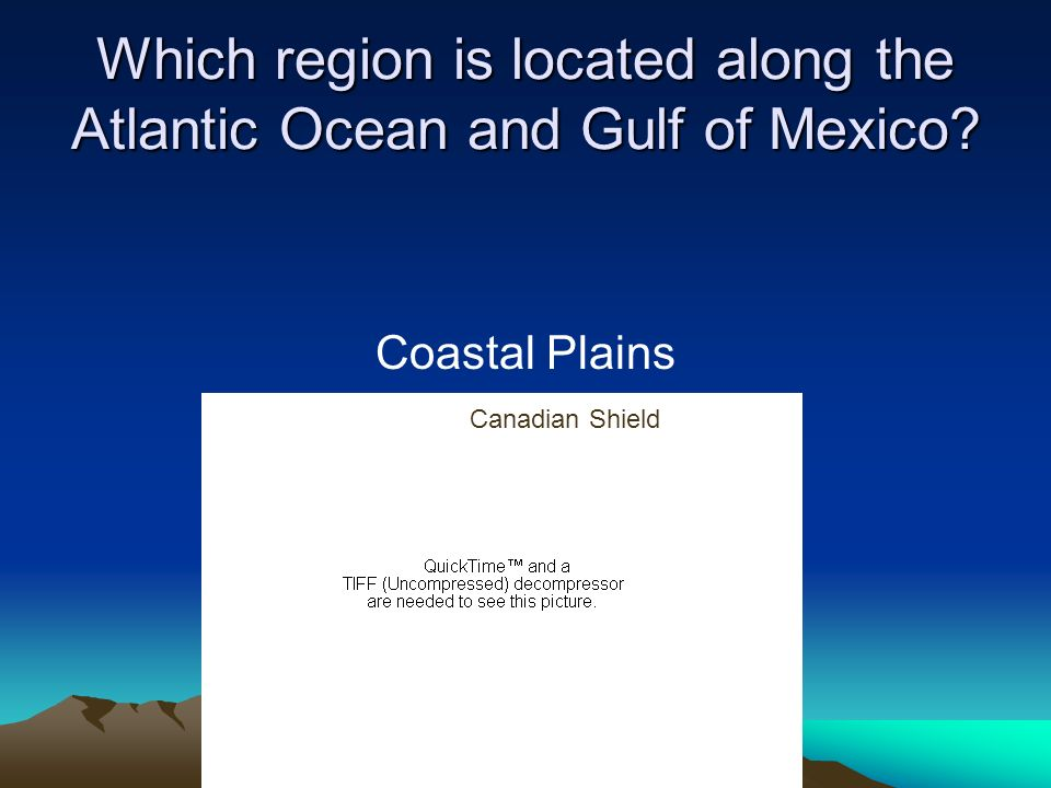 Which region is located along the Atlantic Ocean and Gulf of Mexico