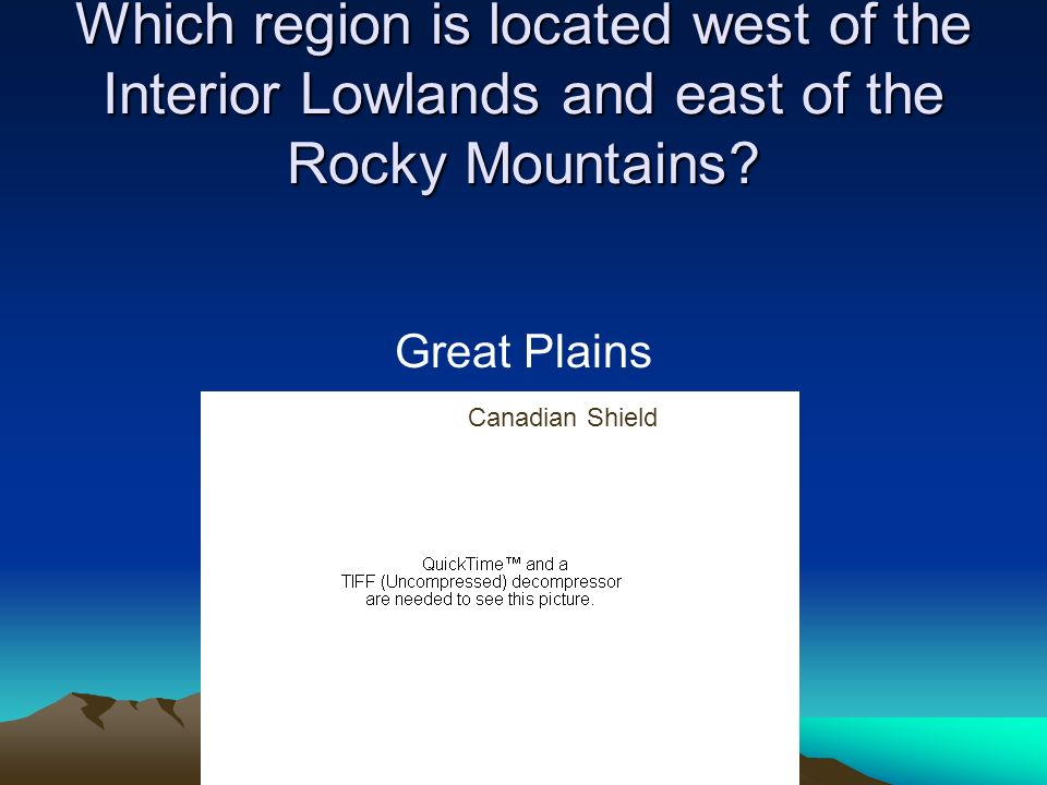 Which region is located west of the Interior Lowlands and east of the Rocky Mountains