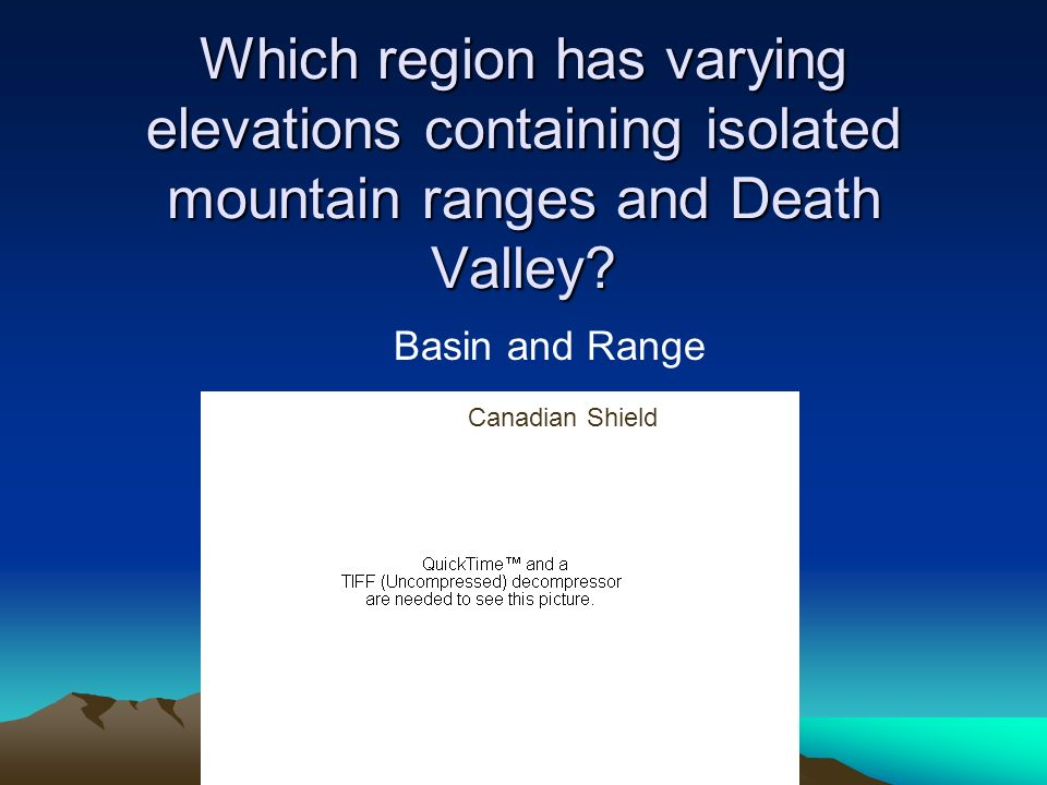 Which region has varying elevations containing isolated mountain ranges and Death Valley