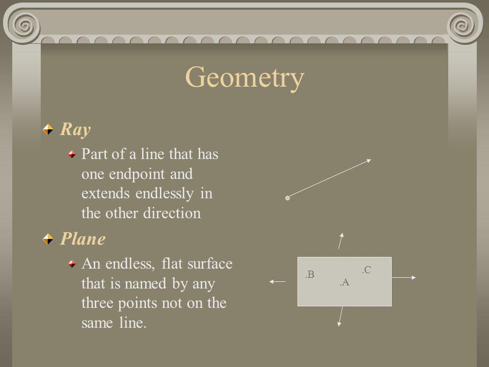 Geometry Ray. Part of a line that has one endpoint and extends endlessly in the other direction. Plane.