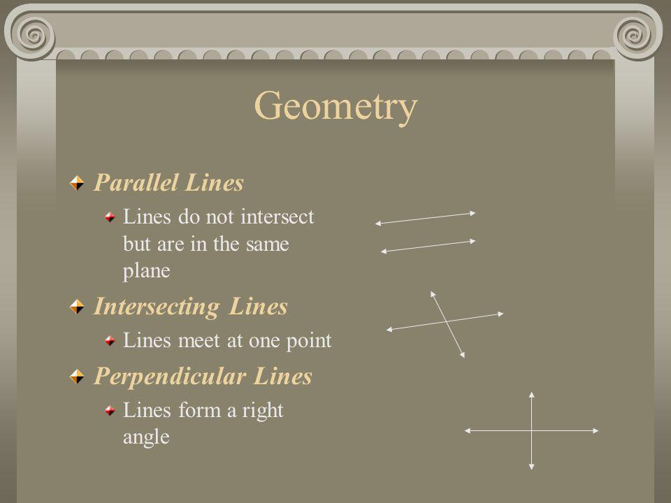 Geometry Parallel Lines Intersecting Lines Perpendicular Lines