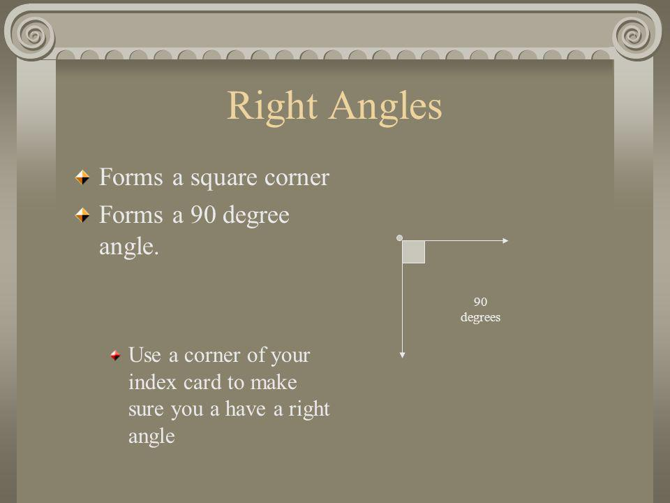 Right Angles Forms a square corner Forms a 90 degree angle.
