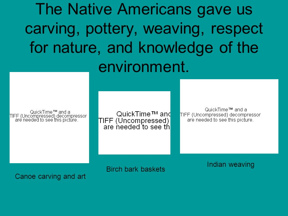 The Native Americans gave us carving, pottery, weaving, respect for nature, and knowledge of the environment.
