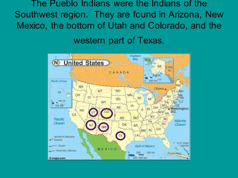 The Pueblo Indians were the Indians of the Southwest region