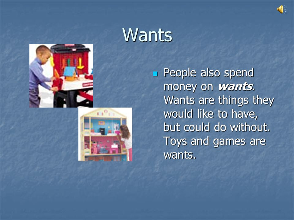 Wants People also spend money on wants.