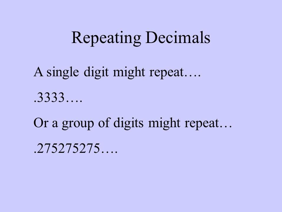 Repeating Decimals A single digit might repeat…. .3333….