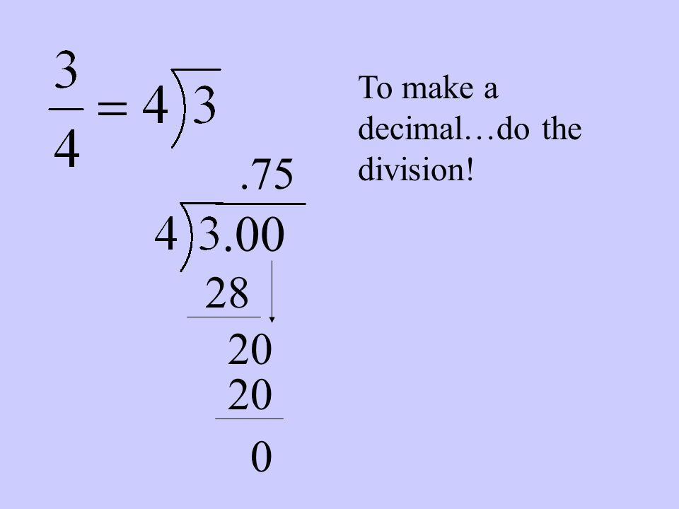 To make a decimal…do the division!