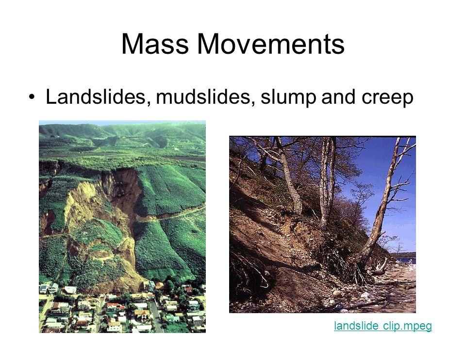 Mass Movements Landslides, mudslides, slump and creep