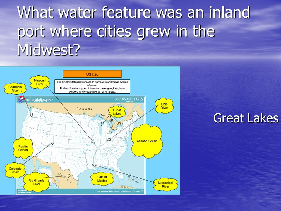What water feature was an inland port where cities grew in the Midwest