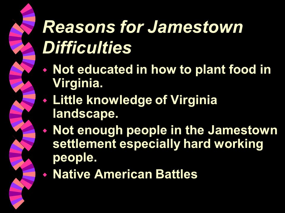 Reasons for Jamestown Difficulties